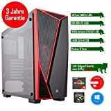 Rhino Game a1650 W10 mit Windows 10 I AMD Ryzen 5 1600X 6x 3.6 GHz I 8 GB DDR4 I NVIDIA GeForce GTX1050Ti 4GB I MSI I 240 GB SSD + 1000 GB SATA I I Xilence Cooler & Netzteil I USB 3.0 | Gigabit-LAN | 7.1-Kanal-Sound I Bullguard Internet Security Lizenz 1 Jahr / 5 PCs I 36 Monate Garantie