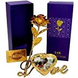 Msa Jewels 24 K Golden Finish Gold Rose With Heart Shaped Love Photo Frame Gift Set