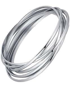 AI Stainless Steel Jewelry G6027MY1 Bracelet jonc en acier inoxydable avec 7 bandes entrecroisées pour femme Argenté