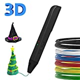 SUNLU 3D Pen,PLA Filament Refills,3D Printing Pen【SL-600 Newest Version】, 3D Drawing Doodle Printer Pen Bonus 2 Color PLA,3D Pen Drawing Stencils-Black