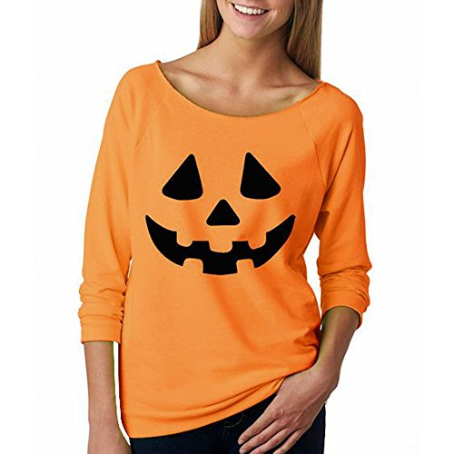 WOCACHI Damen Halloween Kürbis Druck Langarm Sweatshirt Pullover Tops Bluse Shirt (XL, Orange)