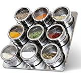 Maharaj Magnetic Spice Tins Set, 9 PCS Magnetic Spice Jars, Stainless Steel Round Storage Containers, Sift And Pour, Great For Salt, Pepper, Herbs Or Seasonings