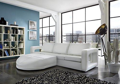 SAM® Sofa Garnitur weiß Doccia 200 x 270 cm links designed by Ricardo Paolo futuristisch Wohnzimmer Sofa Landschaft Federkernpolsterung pflegeleichte Oberfläche
