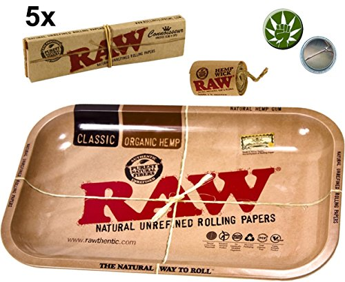 Set 5x Raw KS Classic Connoisseur Papers inkl Tips + Rolling Tray Small + 3m Hemp Wick + Fight 4 Legal Ansteckpin Button (Raw Rolling Papers 1 1 4)