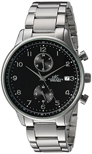 Adee Kaye Men's Quartz Stainless Steel Fitness Watch, Color:Silver-Toned (Model: AK7501-MBK)