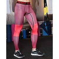 UrChoiceLtd® 2017gimnasio QX pantalones de correr para hombre pantalones de deporte para hombre de compresión entrenamiento ropa de secado rápido transpirable cómodo Leggings Base Elite Fitness térmico WOW, color Red, tamaño medium
