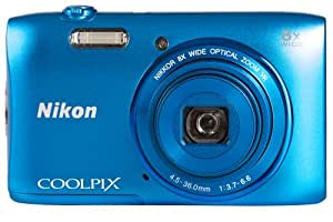 Nikon Coolpix S3600 Camera Blue 20.1MP 8xZoom 2.7LCD 720pHD 25mm Wide Lens