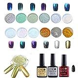 Coolster Starter Nagelstudio-Sets -- Nagel Spiegel Glitzer Pulver + Basislack Gel + Schwarzes Gel + Decklack + Mini bürste