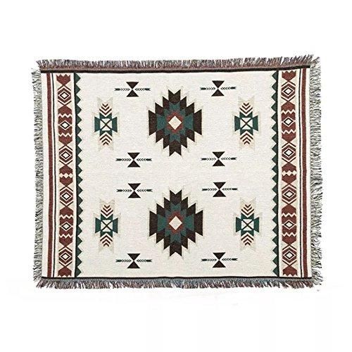 Geométrico manta alfombra sofá étnica, tapiz tapices de pared Navajo, beige, 50'X60'