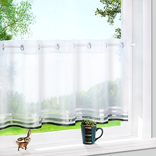 1er Pack Voile Scheibengardine mit aufgenähten Satinbändern Ösen Küchen Vorhang HxB 60x120cm