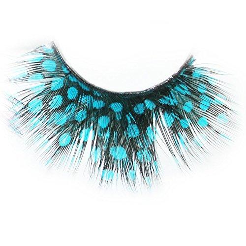 Lash & Co - Faux cils en plumes - - Pois turquoise sur plume noire
