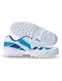 Nivia Men's Hook-1 PVC White and Blue Cricket Shoes