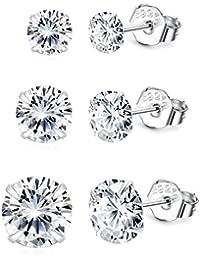 BESTEEL 3-6 Paar 925 Sterling Silber Ohrringes für Herren Damen Mädchen mit Zirkon Ohrringe Schmuck Elegant, 3,4,5,6,7,8 MM