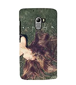Printvisa Premium Back Cover Relaxing Girl With A Perfect Day Quote Design For Lenovo K4 Note