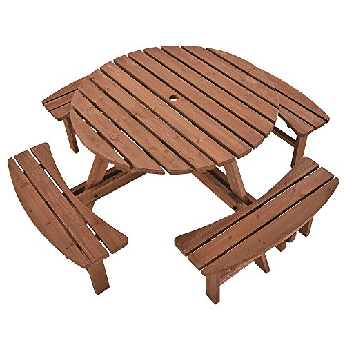 furniture-uk-shop Garden Table 8 Seater Round Picnic Table And Bench Seats Sets (W8)