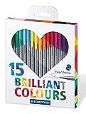 Staedtler 334 C15H Triplus Fineliner Set Herz mit 15 brillianten Farben