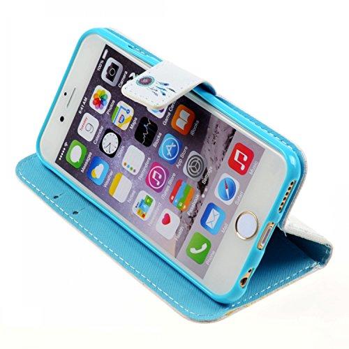Etche Housse de protection pour iPhone 6/6S, étui en cuir flip pour iPhone 6/6S, colorés Case Imprimé pour iPhone 6s, Mode PU Housse en cuir Housse Portefeuille Housse en cuir avec des cartes de crédi attrapeur de rêves