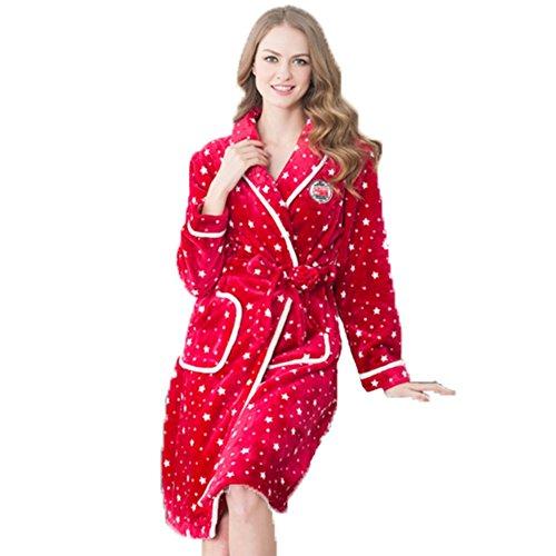 OHmais Unisexe Femme Homme 2 pièces traditionnels Ensemble pyjama avec Pantalon Costume combinaison pyjamas vêtement hiver Rouge