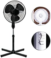 "Eurotrade W Ltd Black 16"" Standing Pedestal Stand Fan Adjustable Oscillating Rotating Stay Cool 3 Speed"
