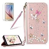Girlyard für Samsung S9 Plus Diamant Lederhülle, Bling Glitzer DIY Crystal Schutzhülle Luxus Premium PU Flip Case mit