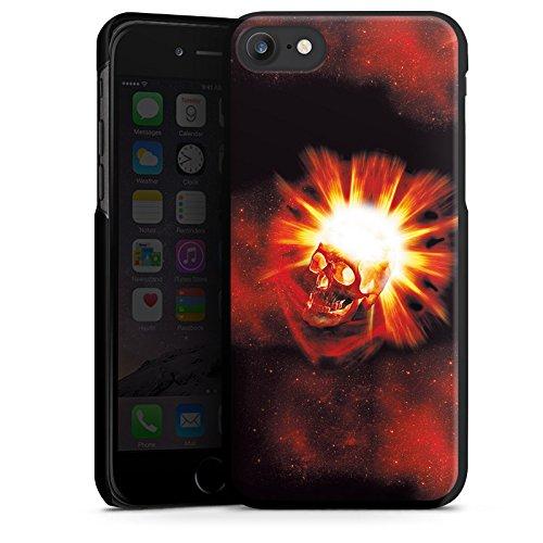 Apple iPhone X Silikon Hülle Case Schutzhülle Totenkopf Schädel Licht Hard Case schwarz