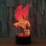Leisurely Lazy Eagle 3D Optical Illusion Lamp 7 Colors Change and 15 Keys Remote Control Children Kids Bedside Table LED Night Light