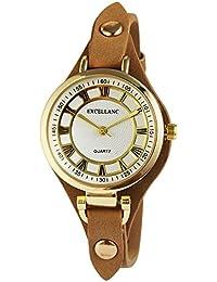 Trend de Wares Mujer de Oro blanco reloj de pulsera Marrón analógico de cuarzo metal piel mujer reloj