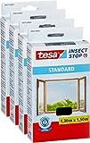 4 Stück tesa Fliegengitter für Fenster, Standard Qualität, schwarz, durchsichtig, 1,3m x 1,5m