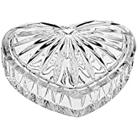 CRISTALICA Dose Schmuckdose Herz Transparent Kristallglas H 5 cm