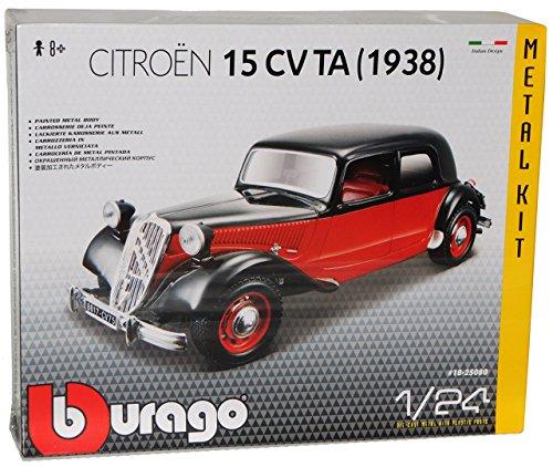 Citroen 15CV TA 1938 Rot Braun Schwarz Bausatz Kit 1/24 Bburago Modell Auto mit individiuellem Wunschkennzeichen