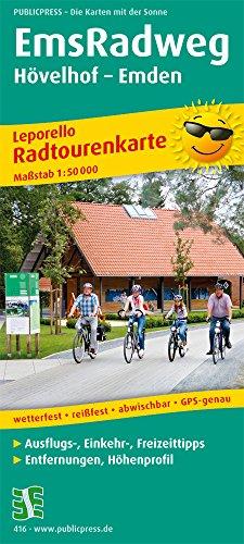 EmsRadweg, Hövelhof - Emden: Leporello Radtourenkarte mit Ausflugszielen, Einkehr- & Freizeittipps, wetterfest, reissfest, abwischbar, GPS-genau. 1:50000 (Leporello Radtourenkarte / LEP-RK) Ems Gps