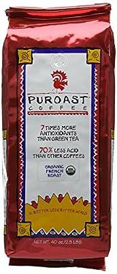 Puroast Low Acid Coffee Organic Dark French Roast Whole Bean Coffee 1134 g