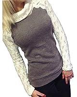 Minetom Damen Rollkragen Pullover Herbst Pulli Sweater Langshirt Sweats Oberteil Bluse T Shirt Top
