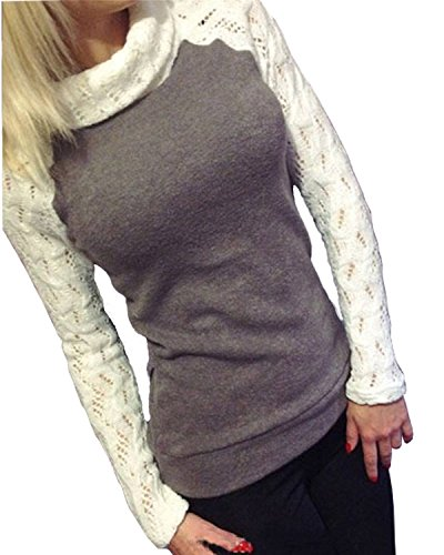 Minetom Damen Rollkragen Pullover Herbst Pulli Sweater Langshirt Sweats Oberteil Bluse T Shirt Top ( Grau DE 36 )