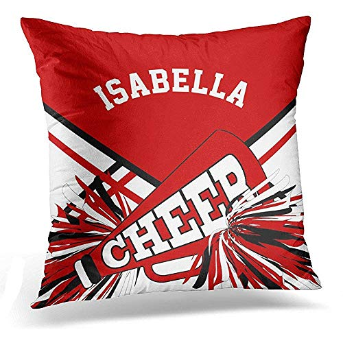 gthytjhv OUDNF Wurfkissenbezug Cheerleading Cheerleader in Dark Red White Black Squad Decorative Pillow Case Home Decor Square 18x18 Inches Pillowcase -