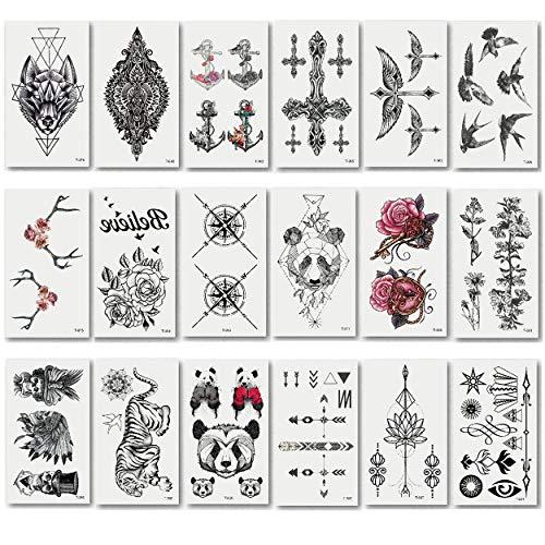 makstore 20 Blätter Tier Blumen Temporäre Tattoos schwarz Tätowierung Aufkleber Fake Arm Tattoos für Herren Damen (Temporäre Tattoos Zug)