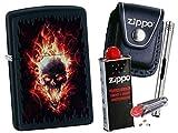 Zippo Burning Skull + Zippo POUCH mit Zippo Zubehör und L.B Chrome Stabfeuerzeug (mit LOOP Black Pouch)