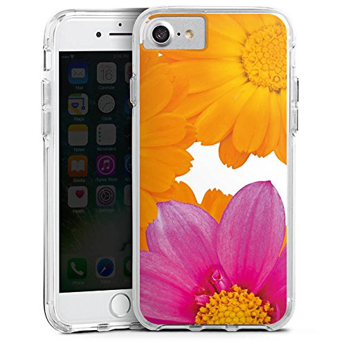 Apple iPhone 7 Bumper Hülle Bumper Case Glitzer Hülle Blumen Flowers Pink Bumper Case transparent