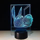 Lampada con illusione ottica 3D, cesello di animali, 16 varianti di colore, tocca la luce notturna a LED sensibile dell'interruttore, regalo di compleanno per bambini ragazzi ragazze