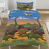 Parure de housse de couette réversible simple/double Le monde des dinosaures avec motifs troupeau de dinosaures, 50 % coton, 50 % polyester, Housse de couette 1 personne