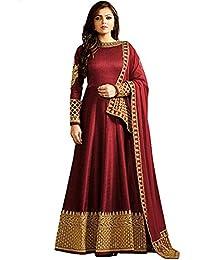 f70136322f38 MONIKA SILK MILL Women s Georgette Heavy Embroidered Anarkali Salwar Suit  Semi-Stitched Fabric (MSM LTN104