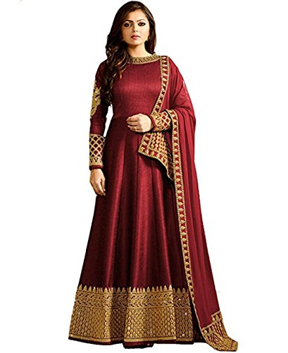 Monika Silk Mill Women's Georgette & Silk Semi Stitched Anarkali Suit (LTN104-1401A _Red_ Free size)
