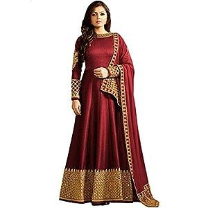 MONIKA SILK MILL Women's Georgette Heavy Embroidered Anarkali Salwar Suit Dress (MSM_LTN104-1401,Red,Free Size)