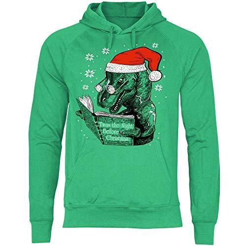 wowshirt Herren Hoodie Atheist Weihnachten Ugly Christmas Dino, Größe:XL, Farbe:Kelly Green