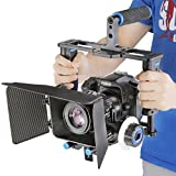 Neewer Aleación de aluminio cámara jaula de vídeo película Kit película haciendo sistema incluye (1) jaula de vídeo + (1) Top Handle Grip + (2) 15mm Rod + (1) caja mate + (1) Follow Focus, para DSLR Cámara Tales como Canon Nikon Sony Olympus