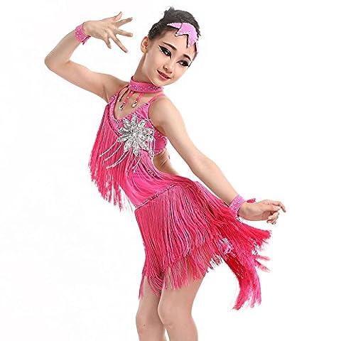 Byjia Panicules De Fleurs Enfants Vêtements De Danse Latine . Rose Red . 130Cm