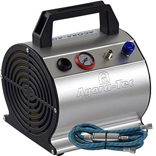 Preisvergleich Produktbild Agora-Tec® AT- Airbrush Compressor AT-AC-03, Kompressor für Airbrushanwendungen mit 3,1 bar und 20l/min, inkl. 0.3l Tank, inkl. Kondenswasserfilter, Druckregler, 1,9m Schlauch und Manometer