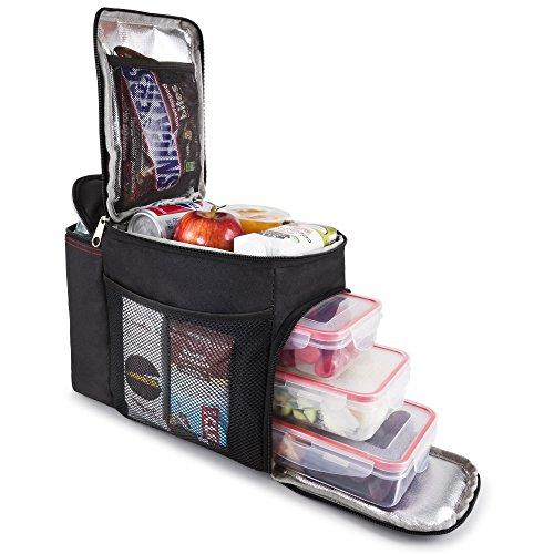 Hemingweigh borsa per il pranzo pacchetto per il pranzo durevole con scomparto per bevande isolato. tracolla rimovibile + 3 contenitori alimentari in plastica + ice pack. (turchese tropicale) nero