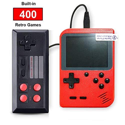 SeeKool Console de Jeu Portable Retro FC, 3 Pouces 400 Jeux Classiques Console de Jeux vidéo rétro, avec 1 Joystick pour Deux Joueurs Console, 1 Chargement USB, Grand Cadeau pour Enfants Amis (Rouge)