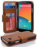 Cadorabo Hülle für LG Nexus 5 Hülle in Cognac braun Handyhülle mit 3 Kartenfächern Case Cover Schutzhülle Etui Tasche Book Klapp Style Cognac-Braun